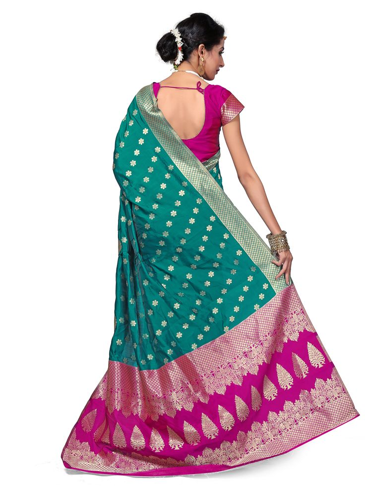 Avanya Green & Pink Colour Banarasi Art Silk Woven Work Saree With Unstitched Blouse Piece
