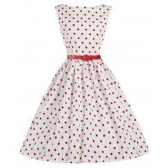 'Audrey' White Polka Dot Vintage 1950's Swing Dress