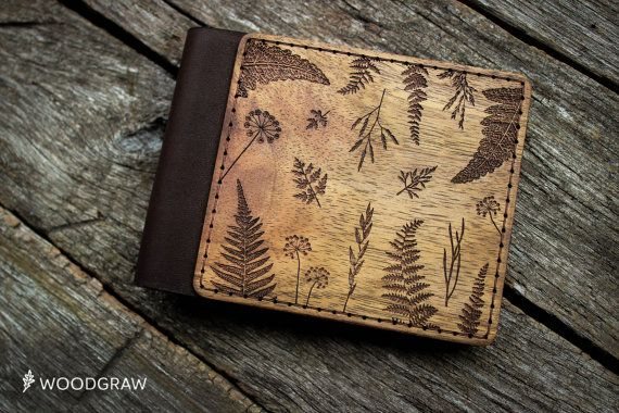 Wooden Leather Wallet, Personalized Leather Wallets Wood wallet, Mens wallet Botanic Groomsmen gift, Boyfriend gift, Husband gift, Mens gift