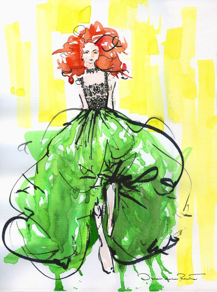 qscar.  please someone give me a ballooning silk taffeta skirt. spring look 1, sketched.