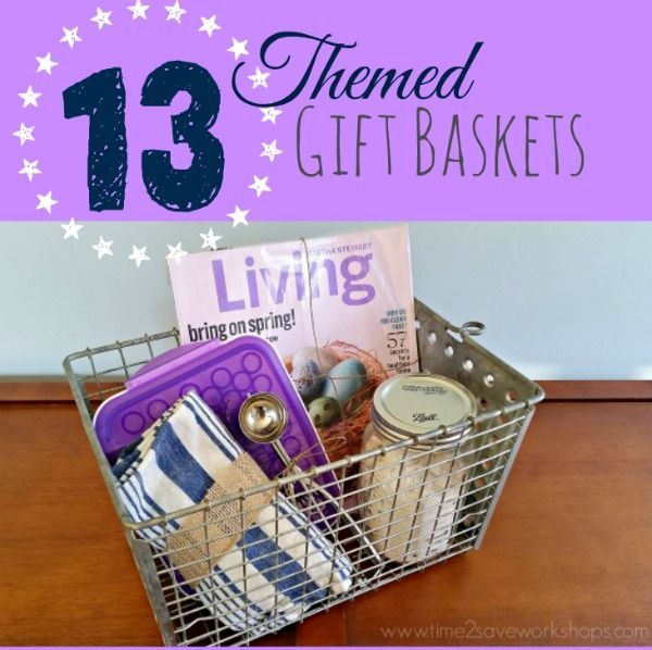 These 13 themed gift basket ideas will kick your gift-giving game up a notch! Fun ideas for women, men and families... Gift basket Ideas #giftbasketideas #giftbaskets