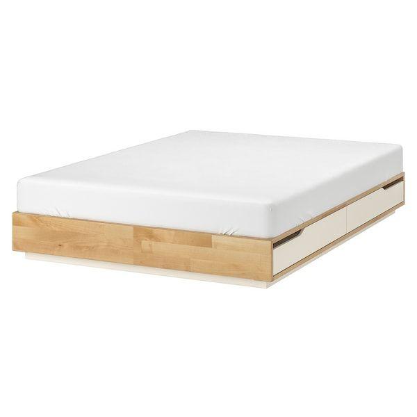 Mandal Struttura Letto Con Cassetti Betulla Bianco 140x202 Cm En 2020 Lit Rangement Cadre De Lit Rangement Sous Lit