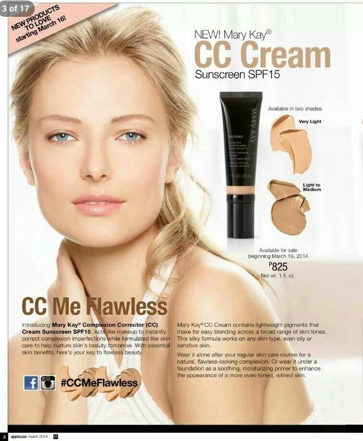 Mary Kay CC Cream http://www.marykay.com/lisabarber68  Call or text 386-303-240