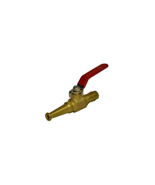 90 degree 19 mm, brass, lever ball valve fire hose nozzle. Buy online, free shipping NZ wide.