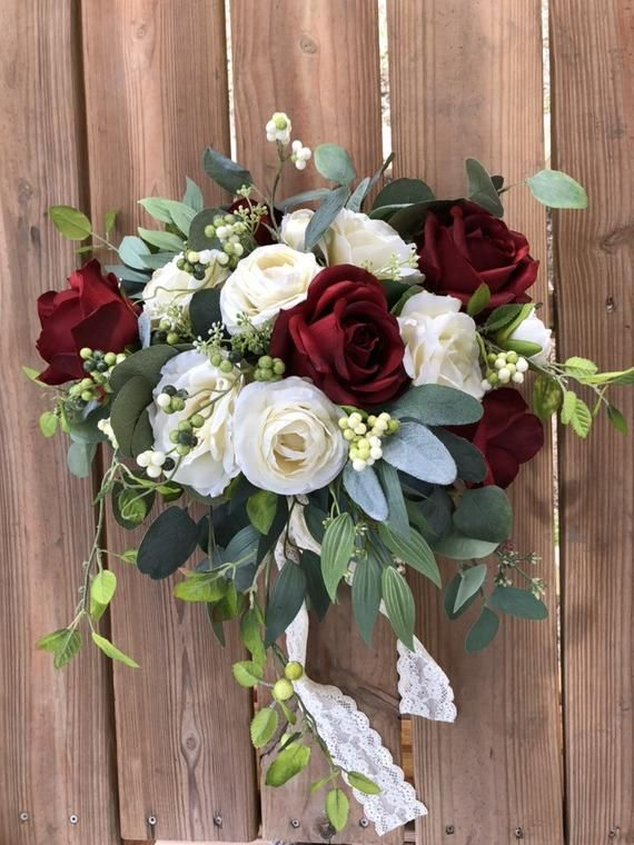 Burgundy Bouquet, Wine Bouquet, Bridal Bouquet, Silk Wedding Bouquets, Greenery Bouquet, Rustic Wedd