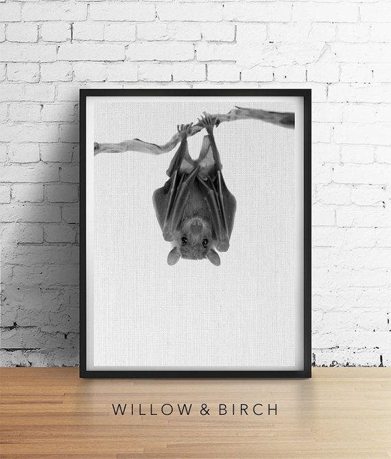 BAT Halloween Printable Art Bat Print Fall by WillowandBirchPrints