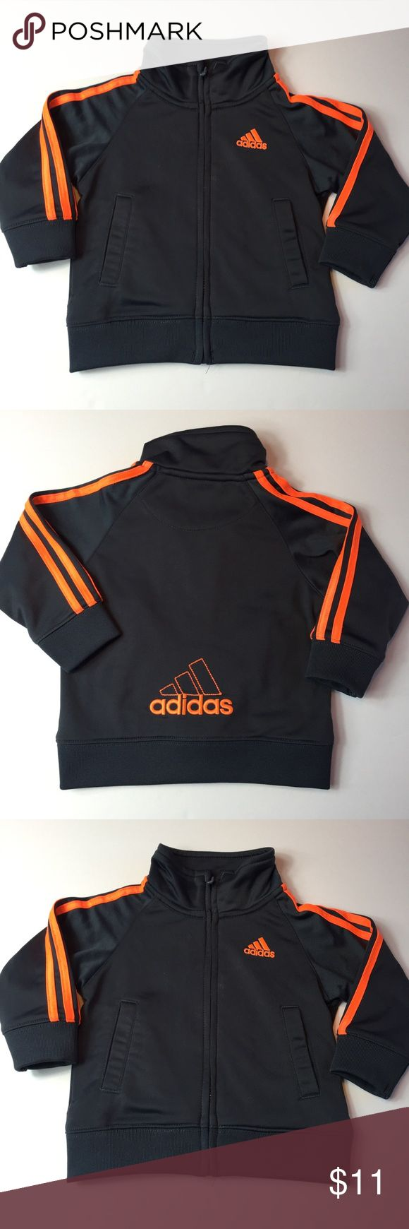 12 Month Adidas Grey and Orange Zip Up GUC Super cute Adidas Grey zip up size 12 Months gently used no damage adidas Jackets & Coats