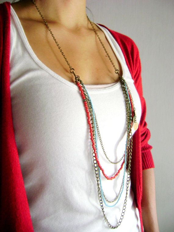 Indiana  Boho chic long assymetric necklace red by DivinaLocura