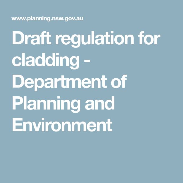 Draft regulation for cladding  -  Department of Planning and Environment