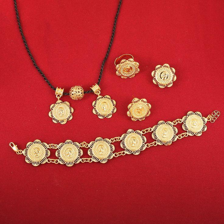Gold Plated Women Ethiopian Coins Jewelry Sets 22K Gold Plated Ethiopian Jewelry Sets For Party And Engagement