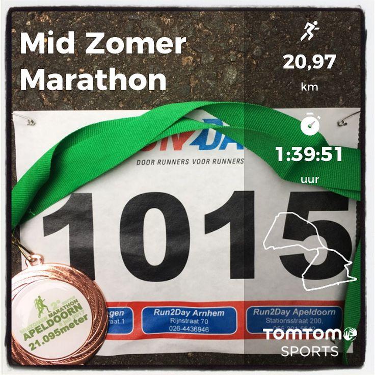 De halve Marathon tijdens de MidZomerMarathon in Apeldoorn. 21,1 km in 1:39:53.
