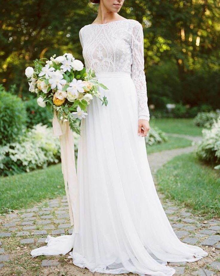 Long sleeve vintage lace wedding dress | Melanie by FLORA