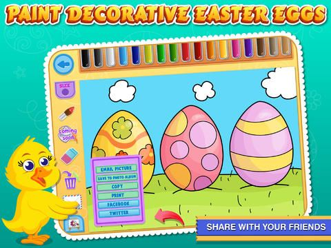 Easter Coloring Free : Paint the Eggs, rabbits and chickens by Sachin Sachdeva