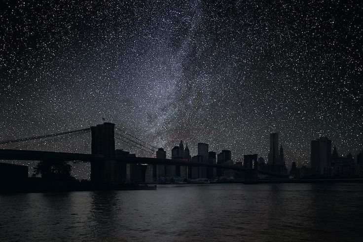 Cities and their Stars (without light pollution) Photos of the night sky are taken in the desert; away from as much light pollution as possible. Through the magic of mathematics, these images are then recomposed with cityscapes; placing the correct skyscape in accordance with time and date.