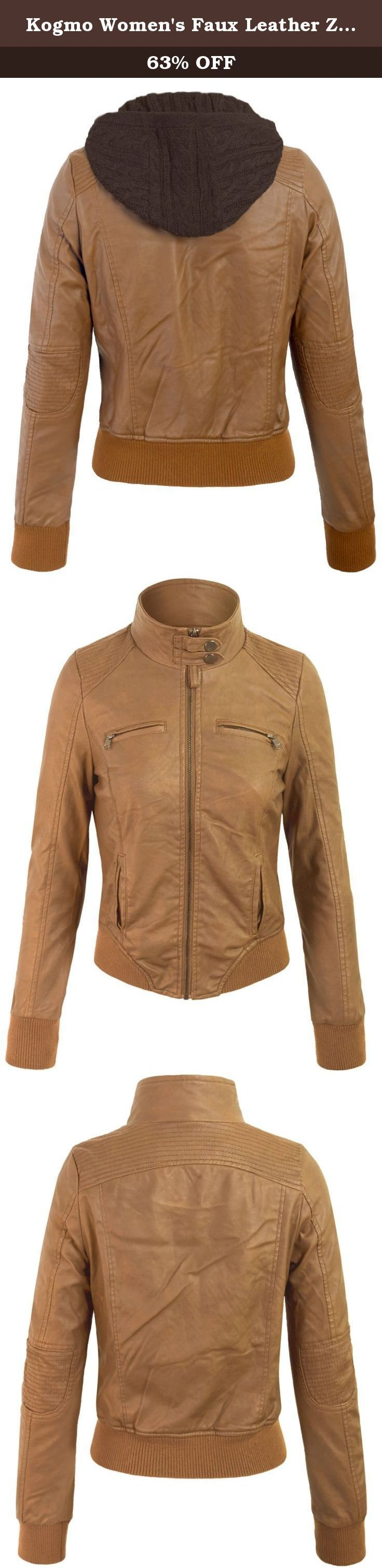 Kogmo Women's Faux Leather Zip Up Fur Lining Jacket with Knit Hoodie-S-CAMEL. Kogmo Women's Faux Leather Zip Up Fur Lining Jacket with Knit Hoodie.