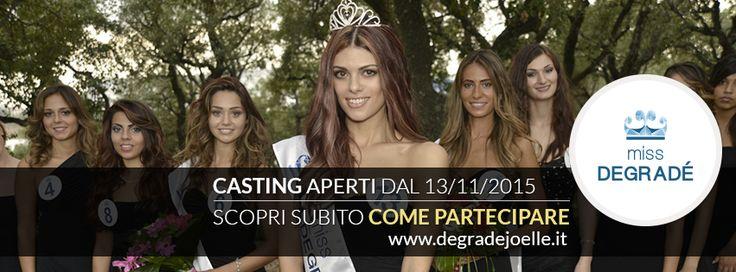 Ci siamo! Si riparte! Il 13 Novembre 2014 iniziano i casting per trovare le ragazze che parteciperanno alle selezioni di Miss Degradé 2015.  Trovate tutte le informazioni sul Centro Notizie del nostro sito! http://bit.ly/13RCxqZ  #cdj #missdegrade #casting