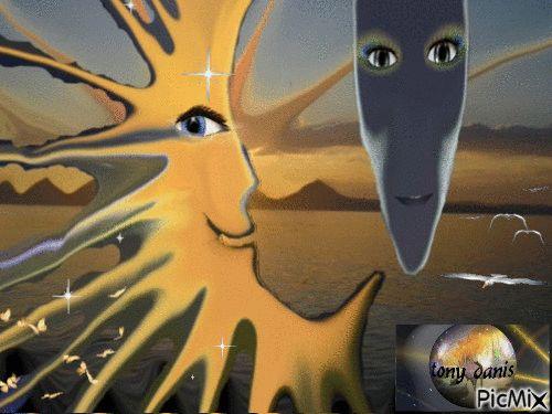 lovers moon sun amoureux du soleil lune   original backgrounds, painting,digital art by tonydanis GREECE HELLAS fantasy fantasia 3d animation imagination gif peace love