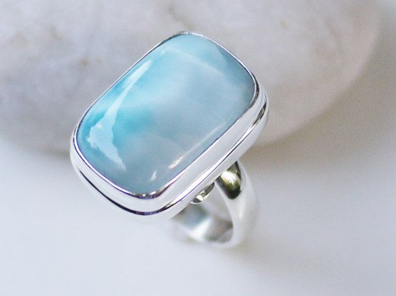 Sterling Silver Larimar Ring by LooksDifferent on Etsy, $79.00