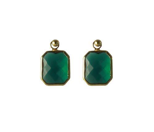 Til disse øreringe skal du bruge følgende materialer:  1 par ørestikker, forgyldt sterlingsølv med kugle 2 stk. glasvedhæng, firkant blå-grøn
