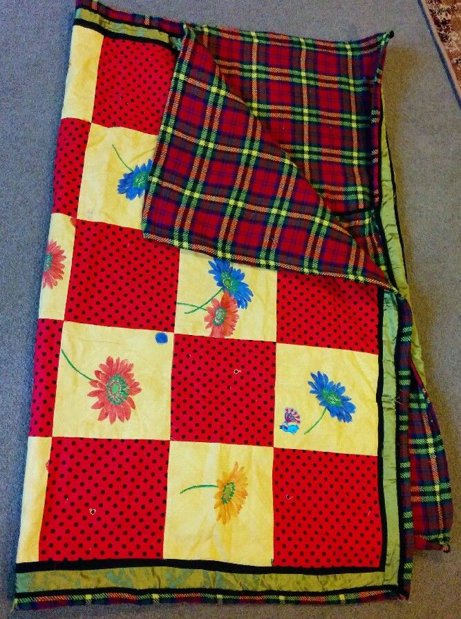 Emma's quilted picnic rug, made from an old picnic rug plus bits of material from my setting box.