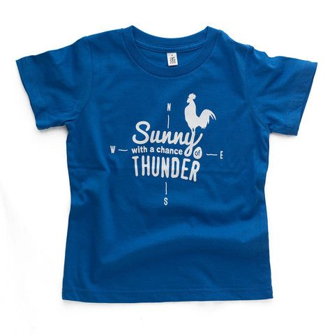 Royal blue kids tee - Sunny with a chance of THUNDER - also available in candy pink, grey marle, red, green, dark navy, white + fluoro orange, grey marle + fluoro orange, charcoal.
