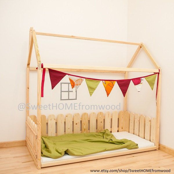Toddler bed -TWIN, children bed, house bed with fence, bed house, Montessori bed, Newborn bed, Children crib, unique bed, waldorf crib by SweetHOMEfromwood on Etsy https://www.etsy.com/listing/257571720/toddler-bed-twin-children-bed-house-bed