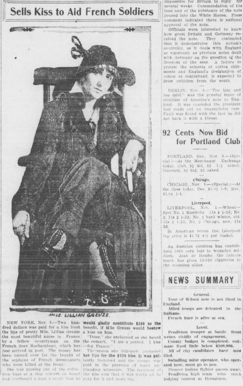 """WWI covered live on Twitter: """"Nov8 1915 Lillian Greuze sells $200 kiss ($4700 in 2015) """"I am a patriot.I kiss for France!"""" https://t.co/Xkh1LRQcW8 https://t.co/WN6sjBIiNX"""""""