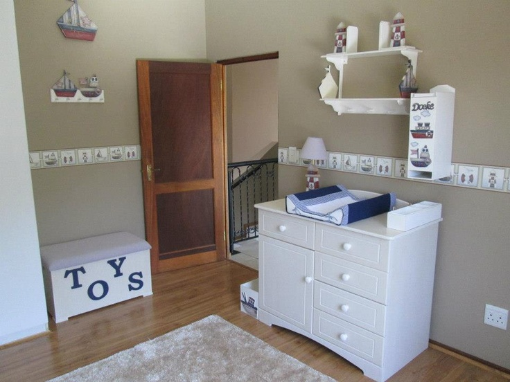 Nautical Nursery   Vintage Style Complimented With White Washed Furniture  For That Real Beach Atmosphere.