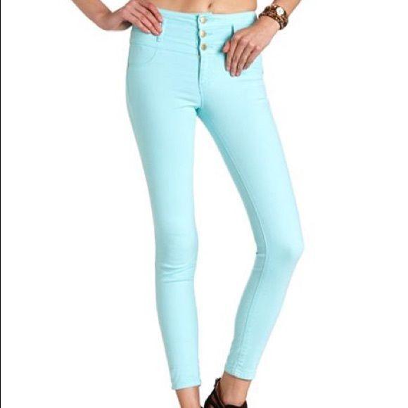 High waist baby blue skinny pant High waist pant from Charlotte Russe skinny pant Charlotte Russe Pants Skinny