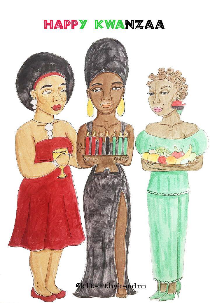 Habari gani? UMOJA! Happy Kwanzaa to everyone who celebrates! 🌽🍎🍠❤️🖤💚 #kltart   #kwanzaa #happykwanzaa #rbg #umoja #panafrican #panafricanism #panafrikan #afroart #afrocentricart #afrocentric #melaninart #melaninpoppin #naturalhairart #blackart #bantuknots #afrohair #headwrap #blackwomenart #brownskin #africanamericanart #africanart #africanartist #chicagoartist