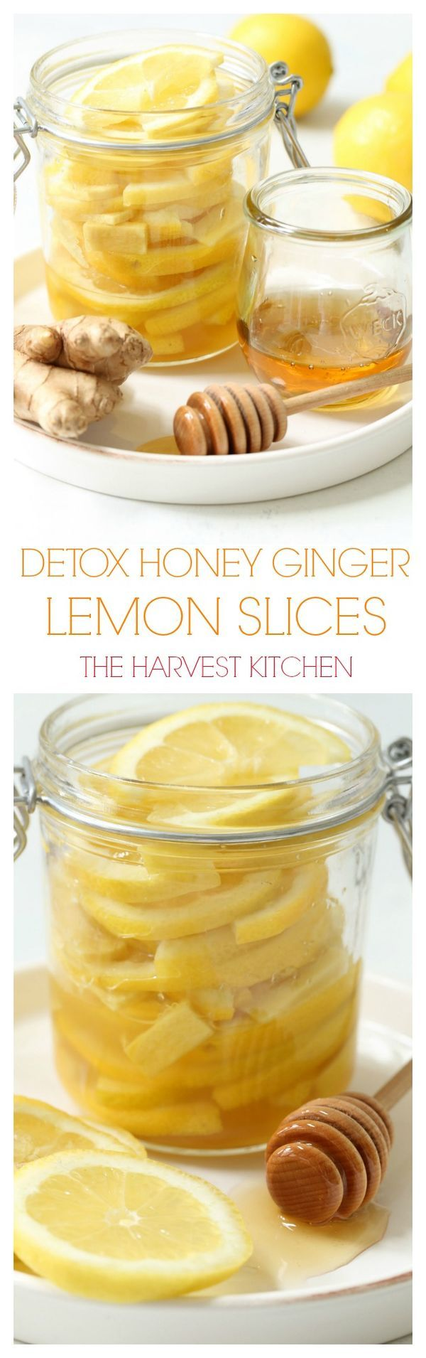 Keep a jar of these Detox Honey Ginger Lemon Slices in the fridge at home or at work for a fun way to help you stay hydrated during the day. @theharvestkitchen.com