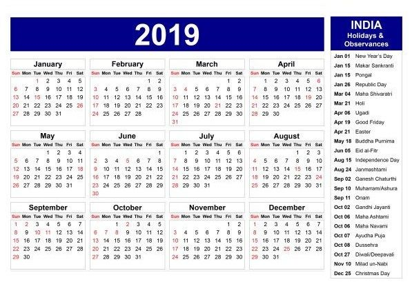 Indian Calendar 2021 With Holidays And Festival