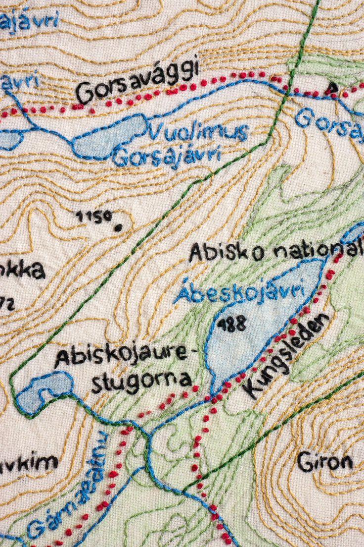 med nål och tråd: :: brodera en karta över Abisko ::
