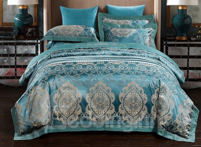 Turquoise Jacquard 4 Piece Duvet Cover Setscom European Style In 2020 Duvet Cover Sets Matching Bedding And Curtains Silky Duvet Covers