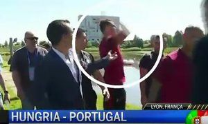 Cristiano Ronaldo throws television reporters microphone into lake