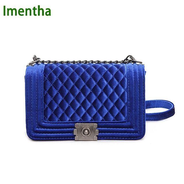 Great Price $16.05, Buy big big! handbag quilted chain bag blue Velvet Women Bags pochette sac femme Women Shoulder Bags sac a main femme crossbody bags