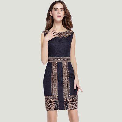 Audealbano unico elegante fascia alta ricamo vintage tunica vestito da modo sleeveless disegno geometrico una linea di abiti
