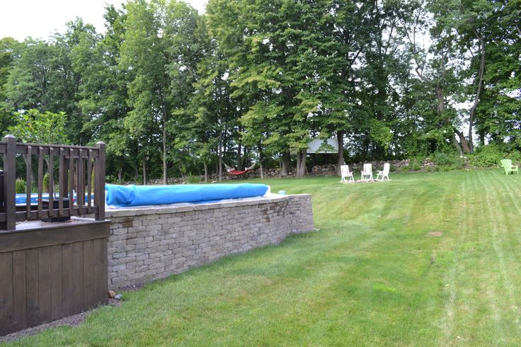 Our Oval Above Ground Pool With A Stone Wall My Husband Built Around It Embellish Best Pools And Walls Ideas