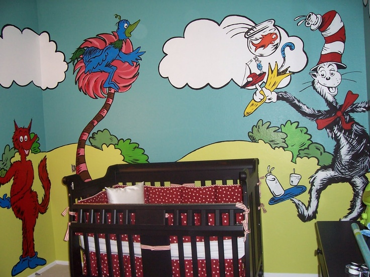 Dr seuss nursery baby shower a collection of ideas to for Dr seuss nursery mural