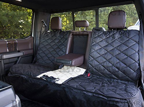 Plush Paws Custom Pet Dog Seat Cover Waterproof Fitted Elastic Skirt Side Flaps Detachable Hammock Machine Washable Quilted & Non-Slip Silicon Backing - Full Size Trucks Cars & SUV's