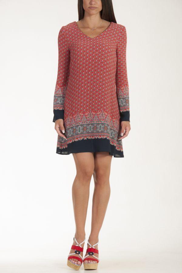 Φόρεμα μέχρι το γόνατο navy κόκκινο μπορντό γυναικείο glamorous