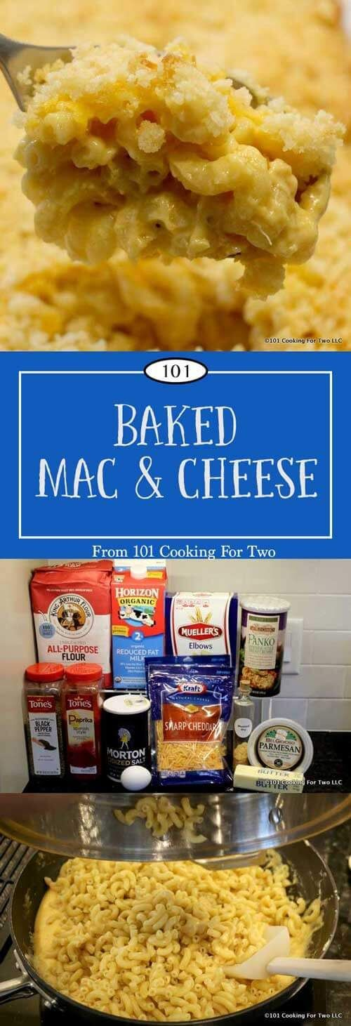 Classic baked mac and cheese with a crunchy Parmesan topping. Great comfort food for everyday or that take a dish event. via @drdan101cft
