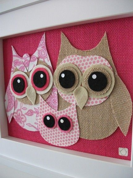 hoot!: Owl Art, Owl Crafts, Baby Owl, Burlap Owl, Owl Families, Fabrics Owl, Baby Rooms, Owl Pictures, Girls Rooms