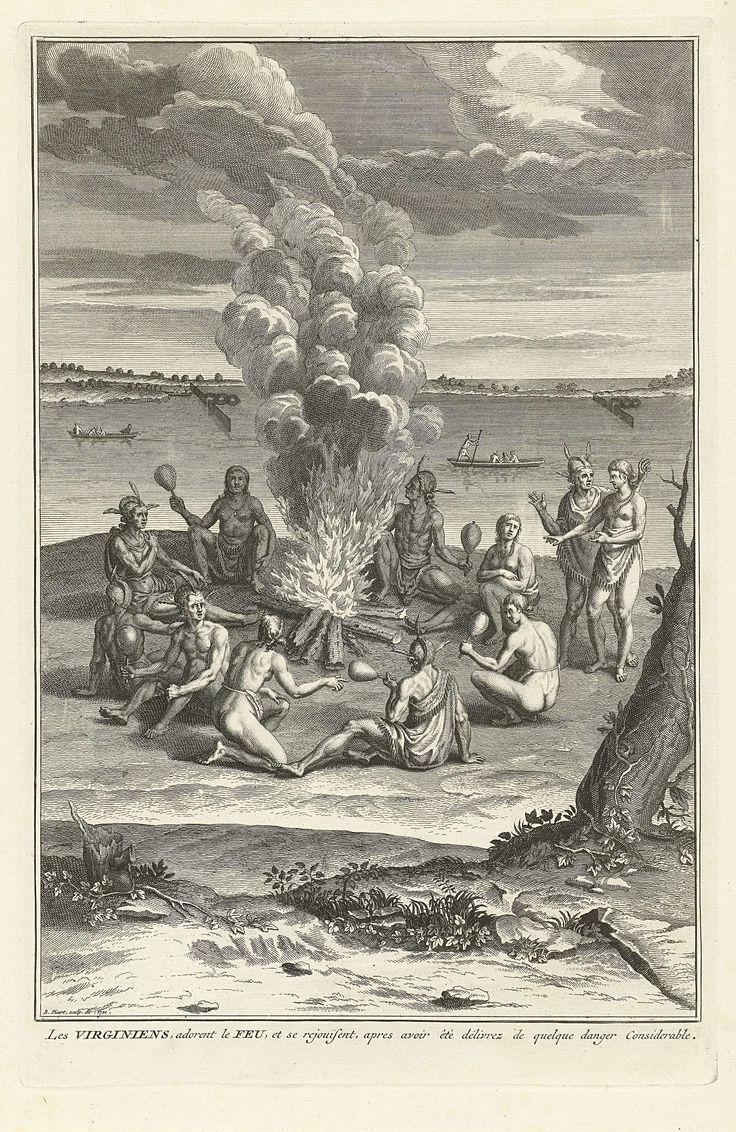 Bernard Picart | Oorlogsritueel van Amerikaanse Indianen uit Virginia, Bernard Picart, 1721 | Voorstelling van een plechtigheid om een overwinning te vieren. De Indianen hebben zich rond een groot vuur geschaard. Ze dansen en maken muziek met kalebassen. Onder de voorstelling een onderschrift in het Frans.