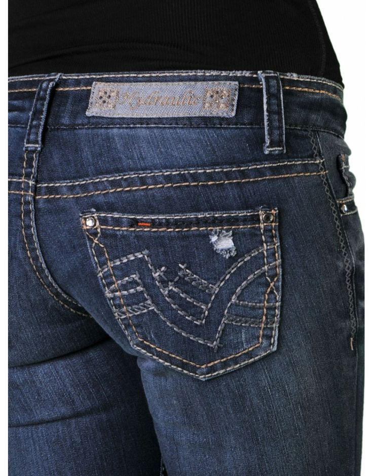 Hydraulic Skinny Jeans | Bailey Skinny Back Pocket Embroidery w/ Destruction/Holes #denim Cute ...