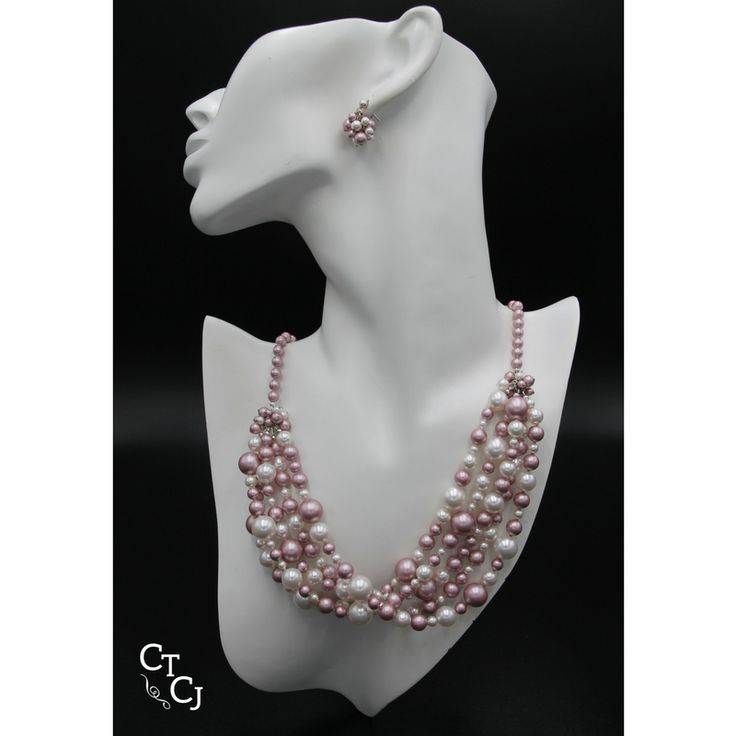 Swarovski white pearl and powder rose multi strand necklace. So romantic and elegant!