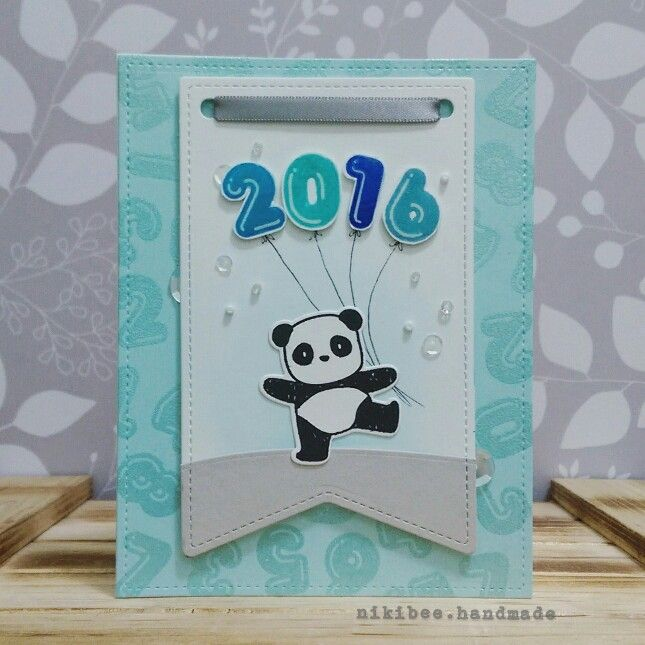 Mama Elephant. New Years card. Pandamodium . Lawn Fawn banner die.
