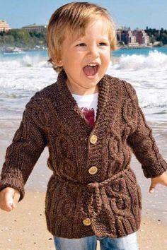 Коричневый жакет с косами и жгутами для мальчика