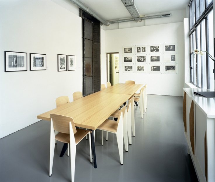 Prouvé furniture by Vitra at Magnum Photos in Paris, France.A Mini-Saia Jeans, Dining Room, Meeting Spaces, Jeans Proves, Magnum Photos, Interiors Design, Standards Chairs, Dining Spaces, Dining Table'S