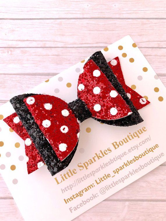 0f9fcd286bf54 Minnie inspired bow, minnie bow, Red glitter bow, red polka dot bow ...